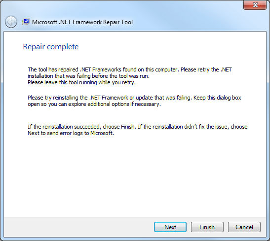 .Net Framework Repair Tool, reparacin finalizada