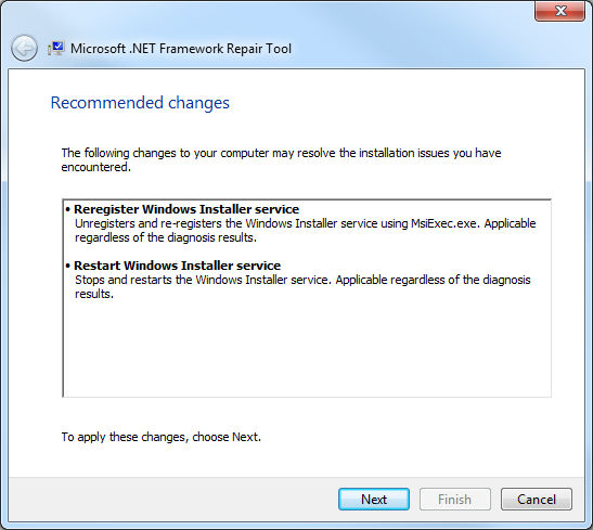 .Net Framework Repair Tool, cambios recomendados