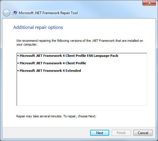 .Net Framework Repair Tool, reparaciones adicionales recomendadas