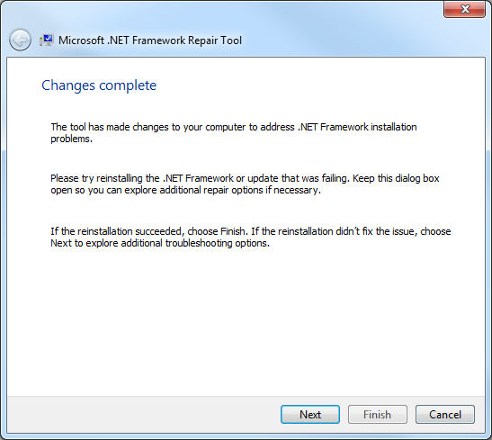 .Net Framework Repair Tool, cambios terminados